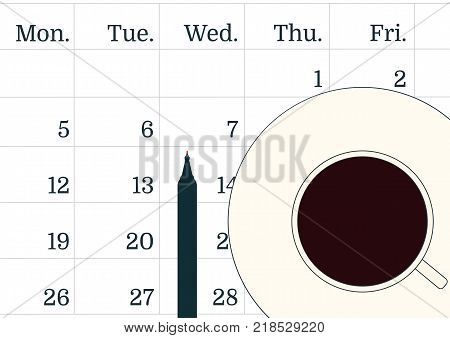 Vector illustration of Procrastination concept. A cup of black coffee on the calendar and a pen. Notebook or calendar. Time to drink coffee and start working