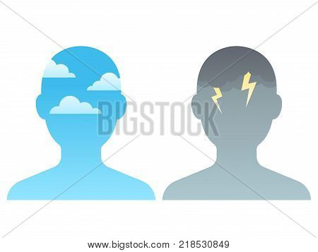 Head silhouette with blue sky and dark storm clouds. Mindfulness and stress management concept vector illustration.