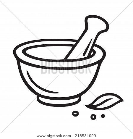 Hand drawn mortar and pestle vector illustration. Simple outline drawing of kitchen or pharmacy equipment. Grinding herbs and spices.