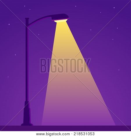 City night spotlight background with light from streetlight lamp. Simple vector clip art illustration.