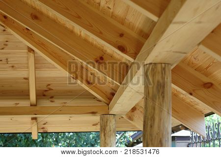 Part of the wooden roof structure on the gazebo.