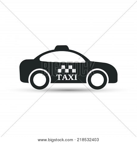 Taxi cab vector icon. Taxi car side view.