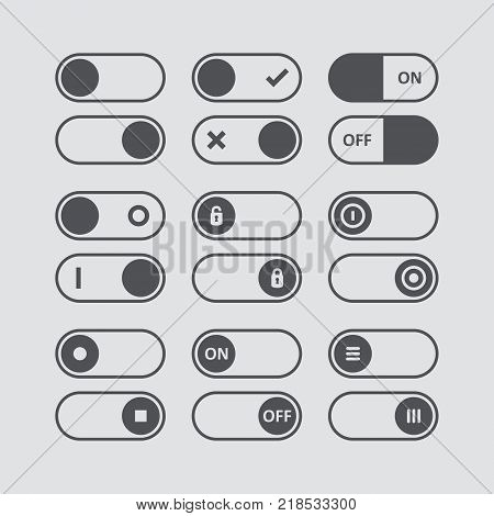 Set of switch icons. Flat icon. Switch buttons. On and Off position. Vector user interface set including switches. Vector illustration.