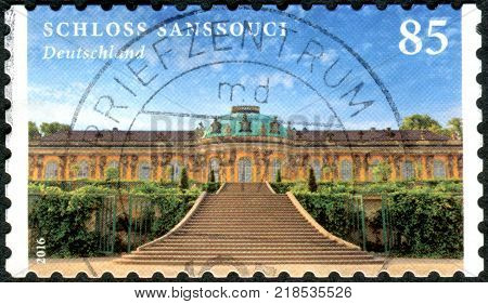 GERMANY - CIRCA 2016: A stamp printed in Germany shows a Sanssouci is the summer palace of Frederick the Great circa 2016