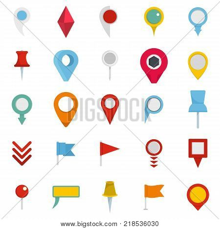 Map pointer icons set. Flat illustration of 25 map pointer vector icons isolated on white background