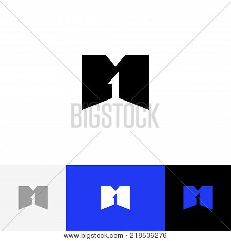 M 1 vector logo. Logotype, icon, symbol, sign from letters m and one. Flat logotype design with blue color for company or brand.