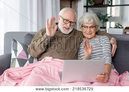 Chatting time. Waist up portrait of smiling couple of pensioners greeting family. They are looking at laptop. Mature man and woman are sitting on couch at cozy living room