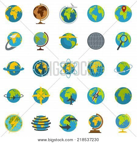 Globe Earth icons set. Flat illustration of 25 Globe Earth vector icons isolated on white background