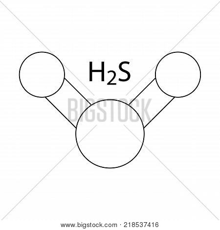 Hydrogen Sulfide (H2S) Molecule Color Icon Symbol Design. Vector outline illustration isolated on white background. Toxic gas with the odor of rotting eggs.