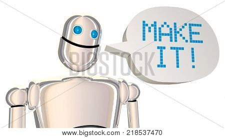 Make It Robot Speech Bubble Create Engineer 3d Illustration