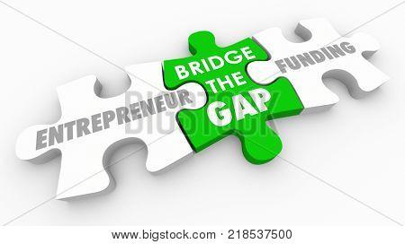 Bridge Gap Between Entrepreneurs Funding Invest Money Puzzle 3d Illustration