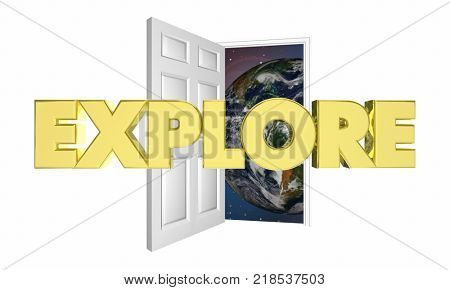 Explore Word Door Opening Start Adventure 3d Illustration - Elements of this image furnished by NASA
