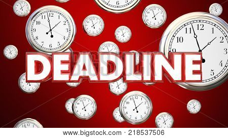 Deadline Clocks Falling End Time Final Call 3d Illustration
