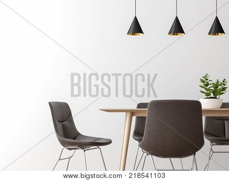 Modern dining room interior minimal style image 3d renderingThere are empty white wall leather chairs and wood desk