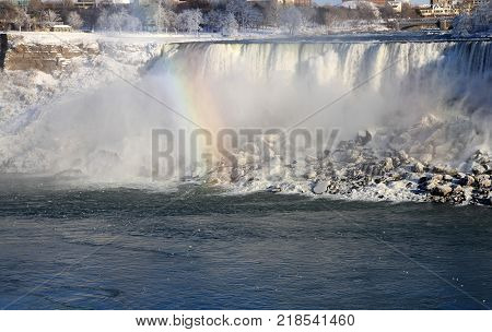 Waterfall On American Side Of Niagara River At Winter