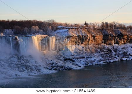 Landscape With American Waterfall On Niagara At Winter