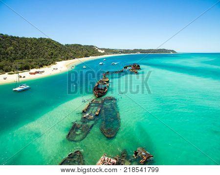 An aerial view of the Shipwrecks near Tangalooma Island Resort on Moreton Island, Queensland, Australia