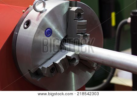 Chuck clamp rod in lathe machine ; close up poster