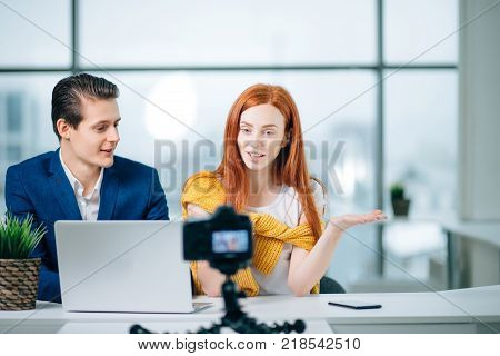 Blogger Startup New Business Man Woman Partners Camera Video Blog Concept.