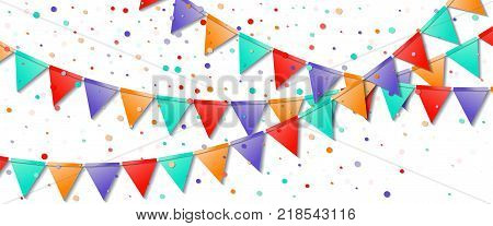Bunting Flags Garland. Fine Celebration Card. Bright Holiday Decorations And Confetti. Bunting Flags