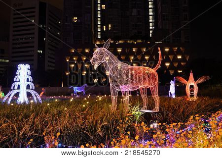 Bangkok Thailand December 16, 2017 :  dog LED light show ones of Chinese zodiac in Thailand illumination festival 2017 on night