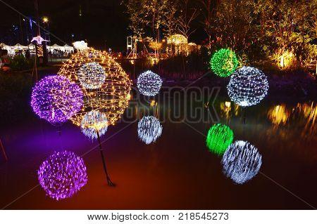 Bangkok Thailand December 16, 2017 :  LED light tree show in Thailand illumination festival 2017 on night