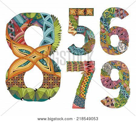 Hand-painted art design. Hand drawn illustration for decoration. Number five, six, seven, eight, nine zentangle objects.