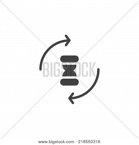Hourglass with circling arrows icon vector, filled flat sign, solid pictogram isolated on white. Processing sandglass symbol, logo illustration.