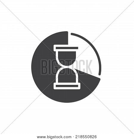 Pie chart with hour glass icon vector, filled flat sign, solid pictogram isolated on white. Time management symbol, logo illustration.