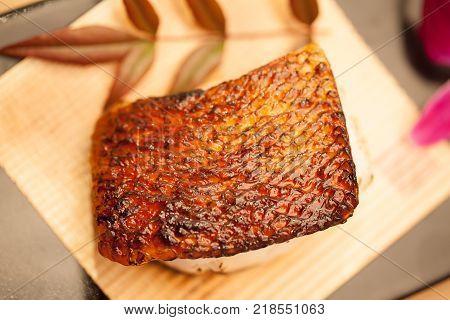fish fillet breaded grilled barramundi steak  close up
