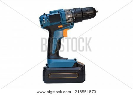 Cordless drill isolated.Electric screwdriver. Construction and repair.
