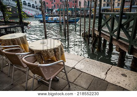 Venice Italy - September 5 2017 : Beautiful view of the Grand Canal in the morning coffee table on the canal . Venice Italy .