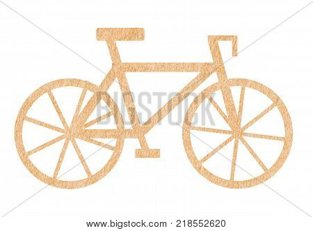 Bicycle of paper cut bike white background of clipping path and selection path