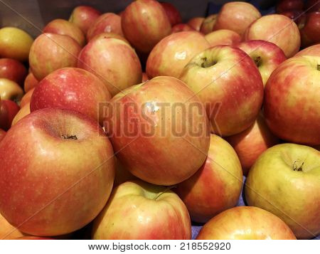 Apples in the market. Red yellow Apple close-up. Turkish ripe apples. A lot of apples