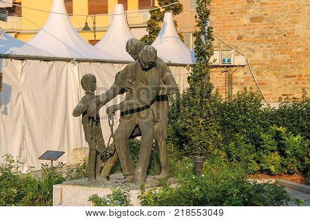 Spilamberto Italy- October 02 2016: Bronze monument to heroes of resistance in the Second World War