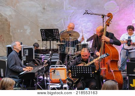 Spilamberto Italy- October 02 2016: Jazz Orchestra on stage on festivities in historic city center