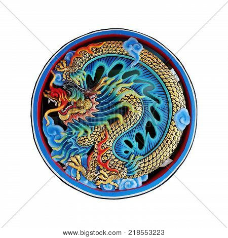 Chinese dragon statue. Chinese dragon on isolate background