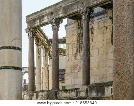 Old column of the st Domnius Cathedral in Split Croatia