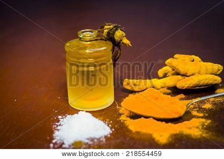 Close Up Of Ingredients Of Ayurvedic Treatment Of Cough I.e. Turmeric,curcuma Longa,salt,sodium Chlo