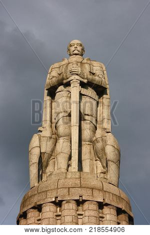 Otto von Bismarck monument. 34-meter figure of Bismarck is set on the banks of the Elbe in Hamburg.