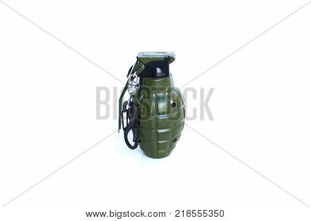 Close up A grenade on isolated white background