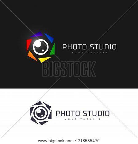Hexagonal photo studio logo template design. Vector illustration.