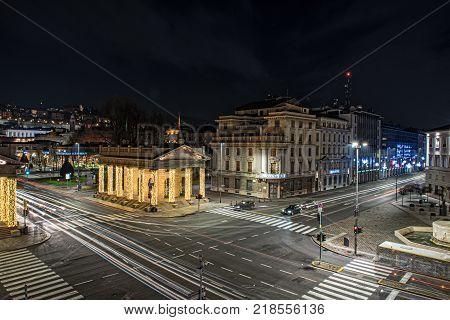 BERGAMO, ITALY - DECEMBER 2017: Long exposure photo of Central street of Bergamo town, Italy