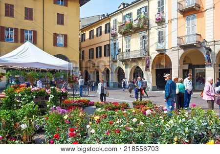 Casale Monferrato Italy - May 7 2011: Local people in Piazza Mazzini