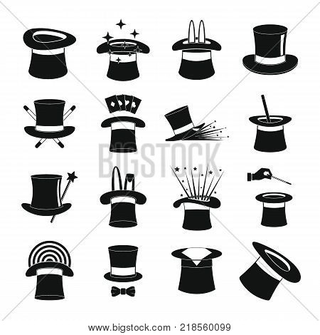 Magician hat sorcery icons set. Simple illustration of 16 magician hat sorcery vector icons for web