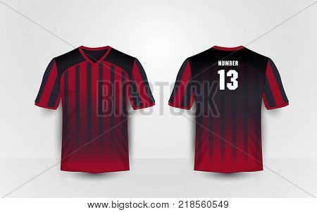 Red and black stripe pattern sport football kits jersey t-shirt design template