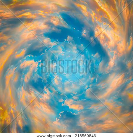 Tunnel from clouds. Bright colorful fairy tale background. Abstract texture heaven concept