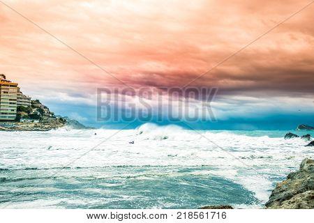 Mediterranean Sea coast in Finestrat and Benidorm Island