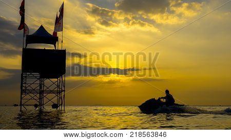 On Dec 102017. Jet ski world cup 2017 at Jomtien Beach in Chon Buri Thailand with sunset and jet ski.