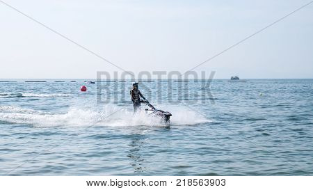 On Dec 102017. Jet ski world cup 2017 at Jomtien Beach in Chon Buri Thailand. Jet ski on sea.